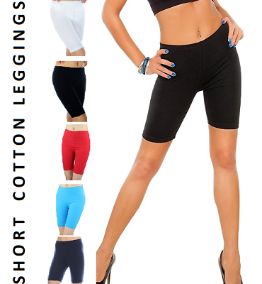 Short Ladies Leggings 95/%Cotton 5/%Elastane Yoga Sports Fitness Run