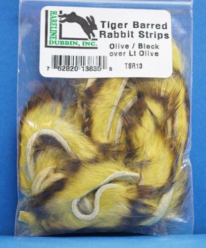 Black over Light Olive Tiger Barred Rabbit Hareline TSR13 Black Barred Olive