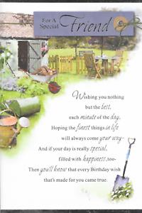 sentimental verset AMIE CARTE D/'ANNIVERSAIRE A3 9 x 6 in jardinage thème environ 15.24 cm