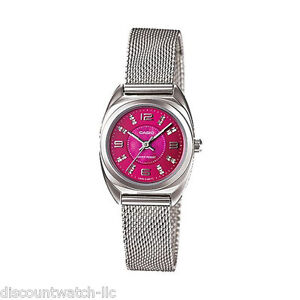 Casio-LTP1363D-4A-Ladies-Mesh-Petit-Stainless-Steel-Dress-PINK-Mother-of-PEARL