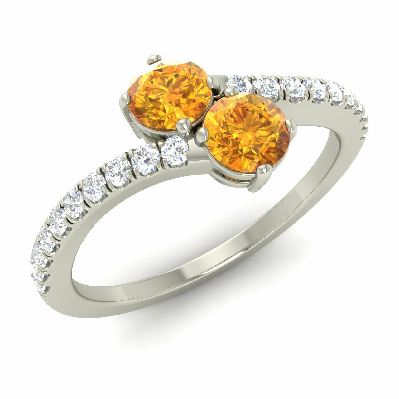 Certified Natural Citrine & G SI Diamond 14k White gold Bypass Two Stone Ring
