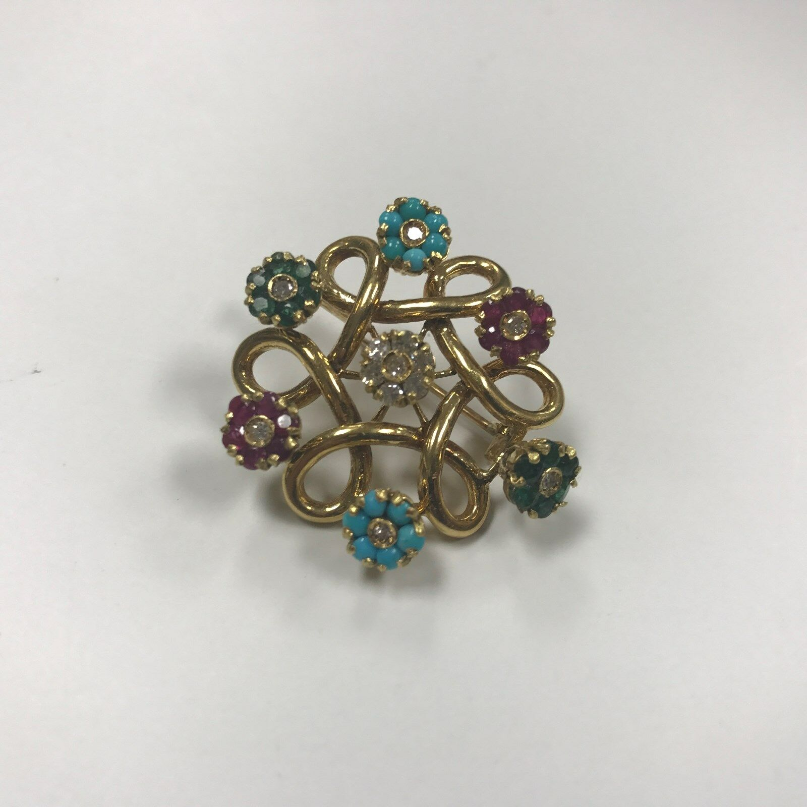 D090 Antique 18k Yellow gold Flower Brooch Emerald Ruby Sapphire Turquoise Stone