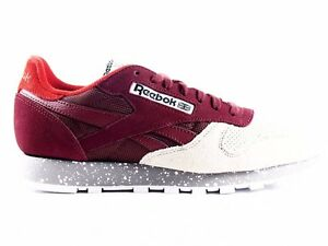 V67680 REEBOK CLASSIC LEATHER SM MERLOT SAND STONE MOTOR RED MENS SIZE 14