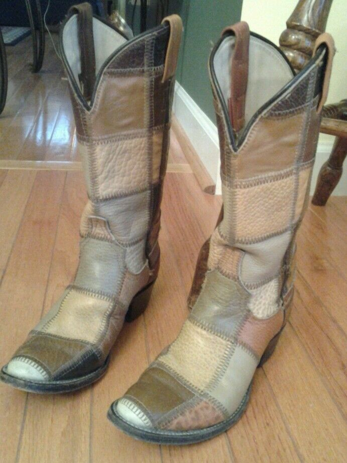 Gentlemen/Ladies Amazing Vintage patchwork cowgirl boots We have won praise from our customers. Impeccable Shopping promotion