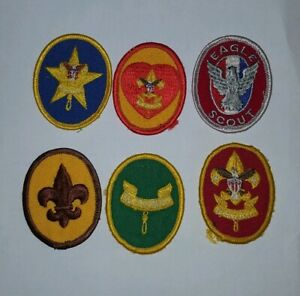 Vintage-1970s-BOY-SCOUTS-RANK-Badge-PATCHES-Eagle-First-Class-Life-Star-Uniform