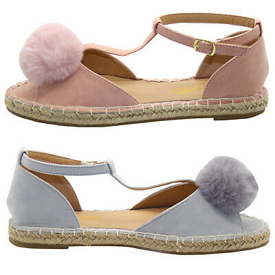 GemäßIgt Womens Flat Pom Pom Sandal T Bar Style Peep Toe Espadrille Ankle Strap Shoes FüR Schnellen Versand