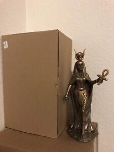 "Egyptian Goddess Hathor Ankh Sculpture 11"" H Statue Motherhood Feminine Figurine"