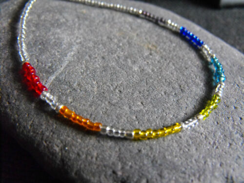 """Ethnic Wicca Glass beaded collar choker necklace RAINBOW unisex 15-17/"""" red blue"""