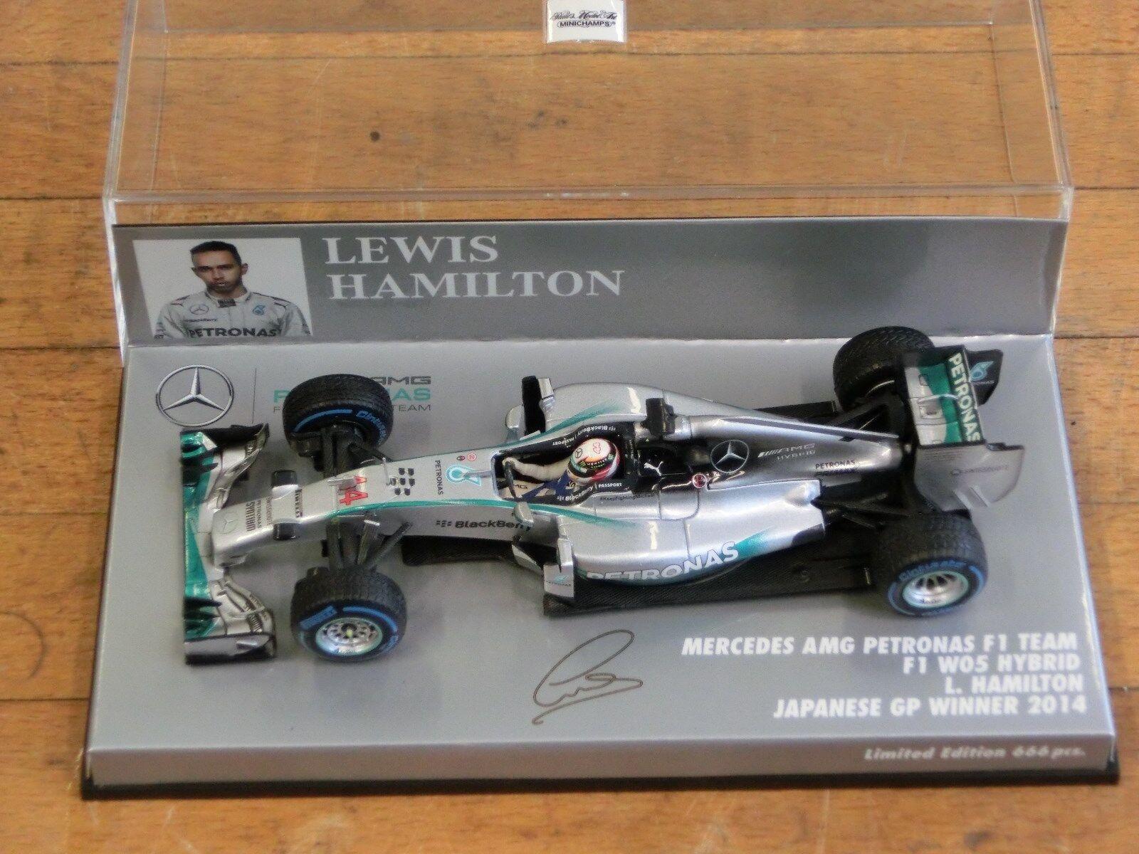 1/43 Minichamps Mercedes AMG W05 Japanese GP Winner 2014 Hamilton Rain Tyres