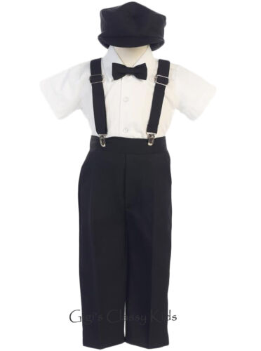 New Baby Toddler Kids Boys White Suspender Pants Outfit Set Easter Wedding G825
