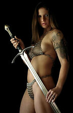 Framed Print - Viking Warrior Princess with Chainmail Lingerie (Medieval Picture