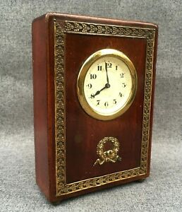 Small-antique-french-Louis-XVI-style-travel-clock-1900-039-s-mahogany-brass-wood