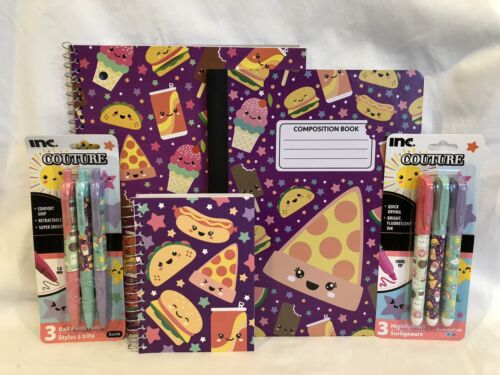 Back To School Notebook Composition Pens Highlighters Cute Kawaii Pizza Tacos