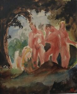 Akte-im-Wald-Expressionist-signiert