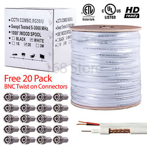 DC Power 1000ft Siamese White Cable Coax CCTV Wire Reel Bulk RG-6 Rg6 Coaxial
