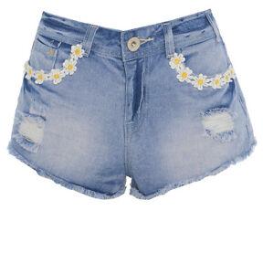 ada668da1b26 Detalles de nuevo talle alto vaqueros pantalones cortos Mujer Floral  cintura jean 8 10 12 14