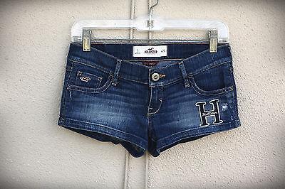 HOLLISTER SoCal Stretch Size 1/3 Blue H Distressed Hot Mini Denim Short Shorts