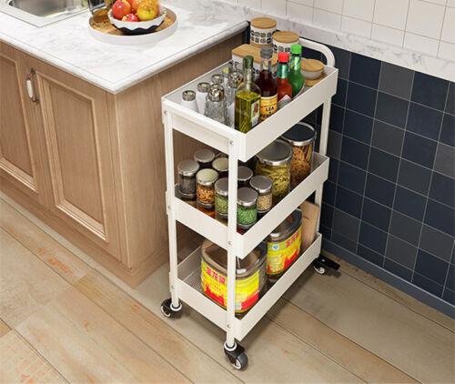 Kitchen Trolley W//wheeles Metal Fruit Vegetable Storage Rack Cart Lightweight