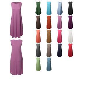 FashionOutfit-Women-039-s-Casual-Solid-Viscose-Sleeveless-Round-Neck-Midi-Dress