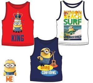 New-boys-licensed-Despicable-Me-Minions-summer-vest-shirt-sleeveless-crew-neck