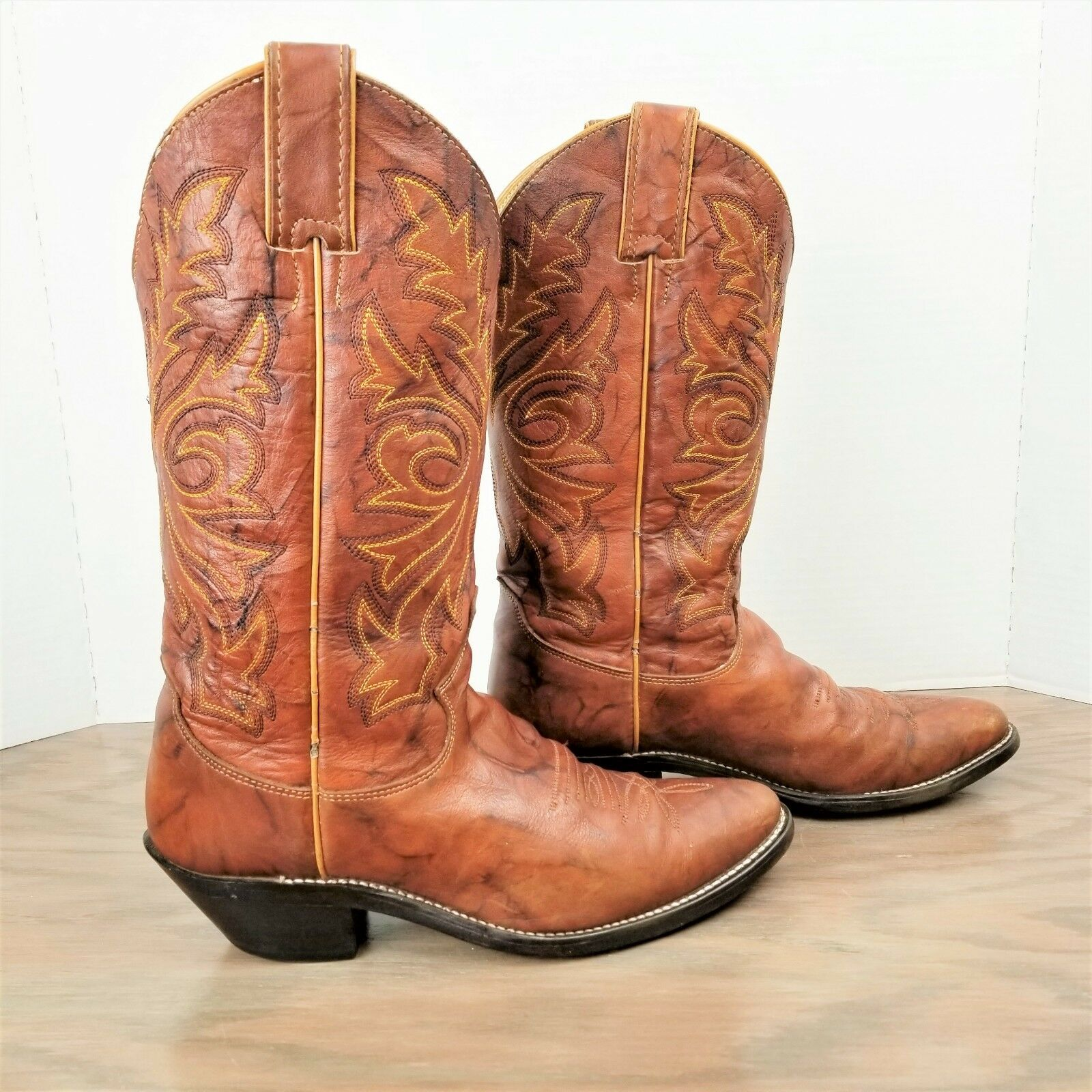 Justin Leather Boots size 7 B Brown Embroidered Western Cowboy boot style women