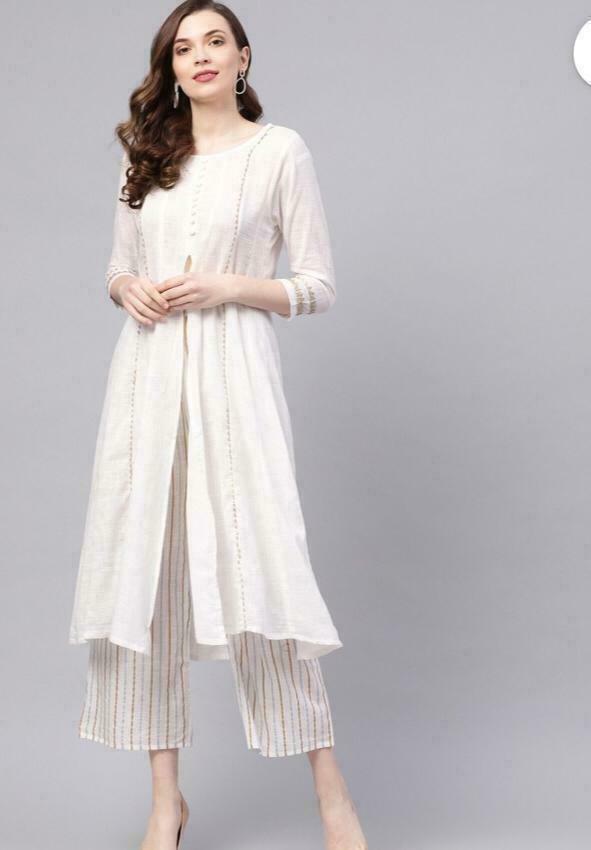 Indian Bollywood Designer gown Kurta Kurti palazzo pant women white ethnic dress
