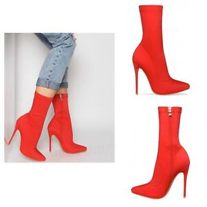 769c0cb60503 Details about Womens Ladies Lycra Stretch High Stiletto Heel Pointed Toe Red  Ankle Boots Shoes