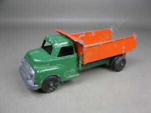 Vtg-Structo-Pressed-Steel-6-Wheel-Spring-Dually-Toy-Dump-Truck-Green-Orange-Red