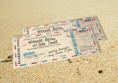 60 Vintage Pastel destination Boarding pass ticket Mariage Invitations invite!