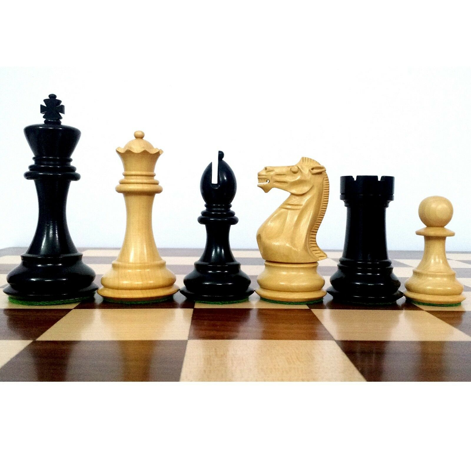 4.1  Pro Staunton Weighted Wooden Chess Pieces Set - Ebonised wood - 4 queens