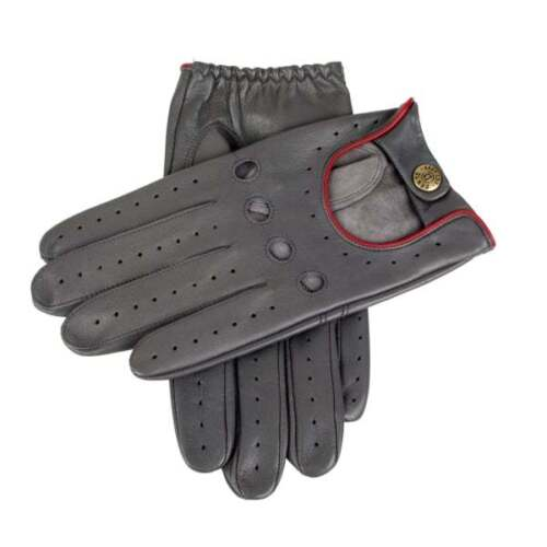 Dents Delta Men's Leather Classic Driving Gloves CHARCOAL/BERRY