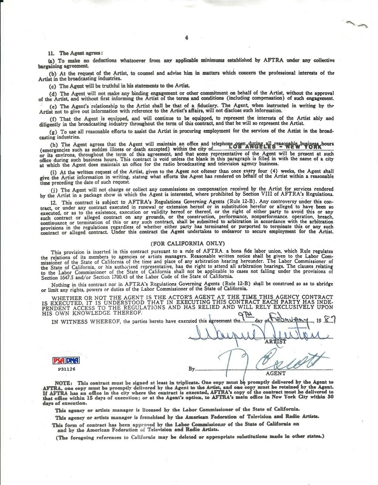 Wayne Newton Signed American Federation Of TV & Radio Contract *Actor PSA