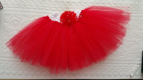 BABY GIRL HANDMADE RED TUTU SKIRTS NEWBORN-24 MONTHS PHOTO PROP
