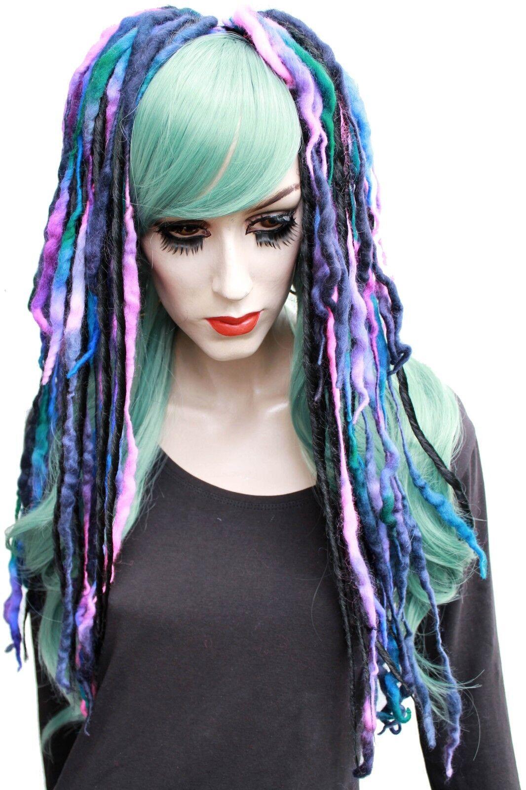 Wool Dread Hair Falls Purple Black Hair Extensions Gothic Indie