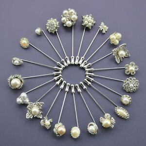 Pearl-amp-crystal-diamante-rhinestone-wedding-cravat-pin-stick-pin-tie-pin-Silver