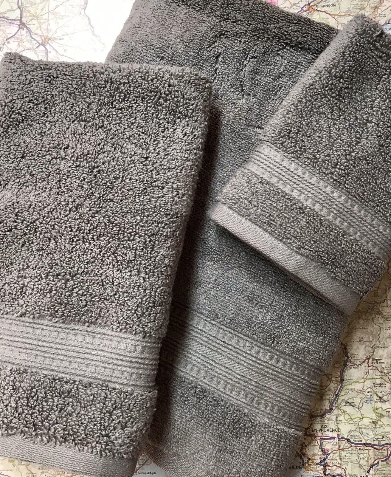 NEW Monogrammed 3 pieces towels set from CHARISMA-100% Hygro cotton - GREY