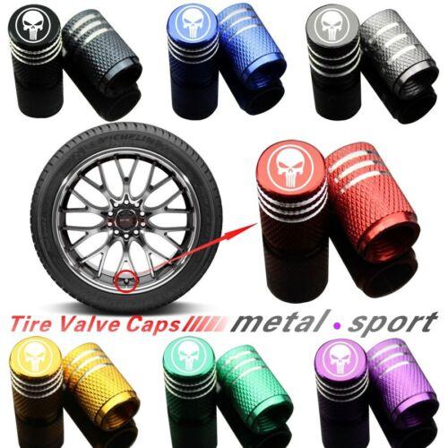Car 4x Punisher Skull Wheel Tire Caps Air Valve Stem Cover Bike Gold Trucks
