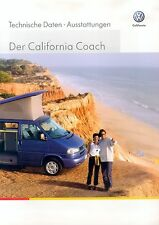 VW California Coach Prospekt Technische Daten 4 02 Autoprospekt Auto PKWs 2002