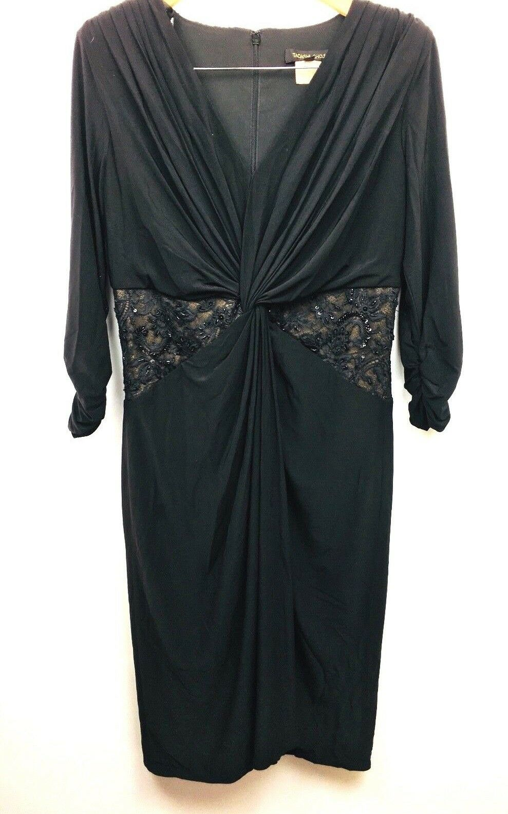 Vtg Tadashi Shoji 80s schwarz Ruched Harem Cocktail Prom Formal Dress Beading XL