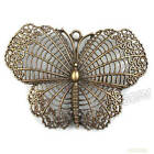5x Antique Bronze Hollow Butterfly Alloy Charms Pendant Findings Jewelry 68mm BS
