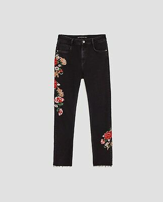 Zara Mid/high-rise Floral Flared Jeans With Embroidery-black-ref 3643/200-size 4 Jeans