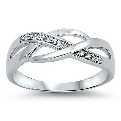 .925 Sterling Silver Clear CZ Infinity Promise Love Ring Size 5 6 7 8 9 NEW