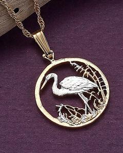 Bird-Egret-Pendant-Hand-Cut-Russian-50-Rubles-Coin-3-4-034-Dia-804B