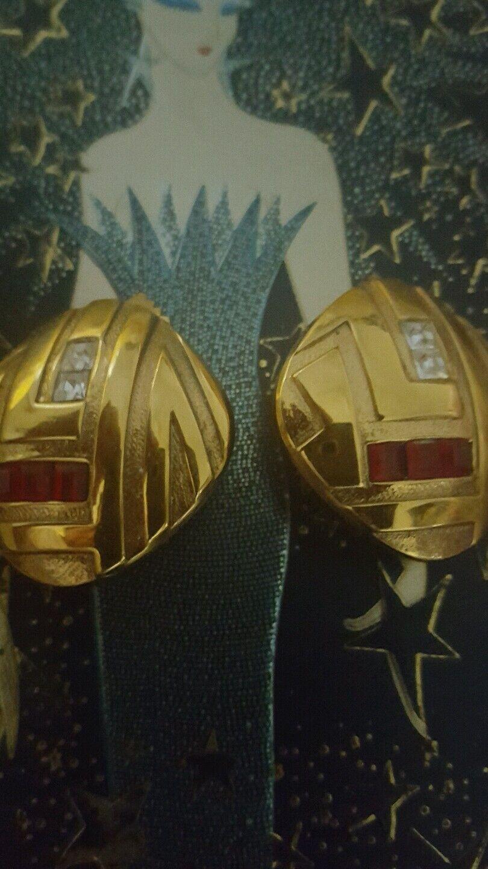 Lanvin Art Deco Vintage Earrings 24 K Gold Plate … - image 1
