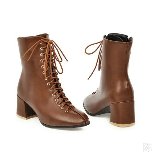 Details about  /British Women/'s Ankle Boots Lace Up Winter Fashion Biker Goth Mid Heel Shoes US