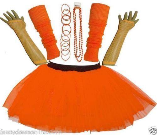 Femme Filles années 80 années 70 Fluo Tutu Jupe Jambières Gants Perles Gummy Bracelet Set