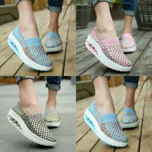 Sneakers-Womens-Woven-Slip-On-Platform-Breathable-Comfort-Shoes-Walking-Size-5-9