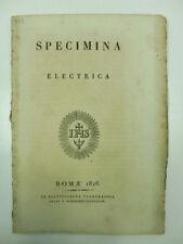 (PIANCIANI Giovanni Battista), Specimena electrica