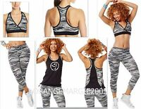 ZUMBA 3 Piece Set! ~Treaded Capri leggings & Mid-level Bra Top & Bubble Top ~S M