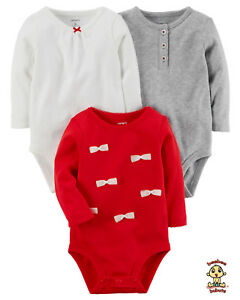 Carter-039-s-Bodysuits-3-Pack-Long-Sleeve-Set-Newborn-Size-Authentic-and-Brand-New